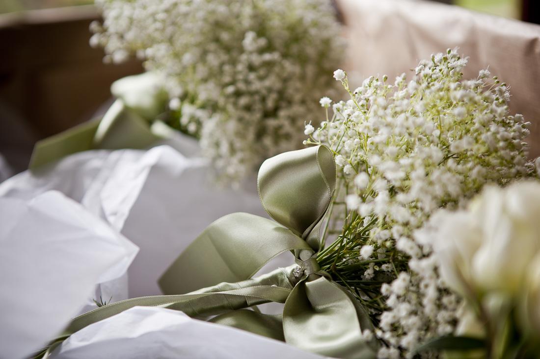 Gypsophila Bouquets tried with sage green satin ribbon