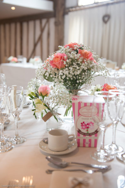Wedding table Centrepiece with Miss Piggy Rose and Gypsophila