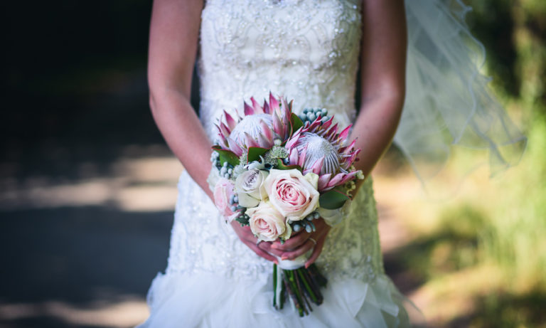Summer Bridal Bouquet featuring Proteas