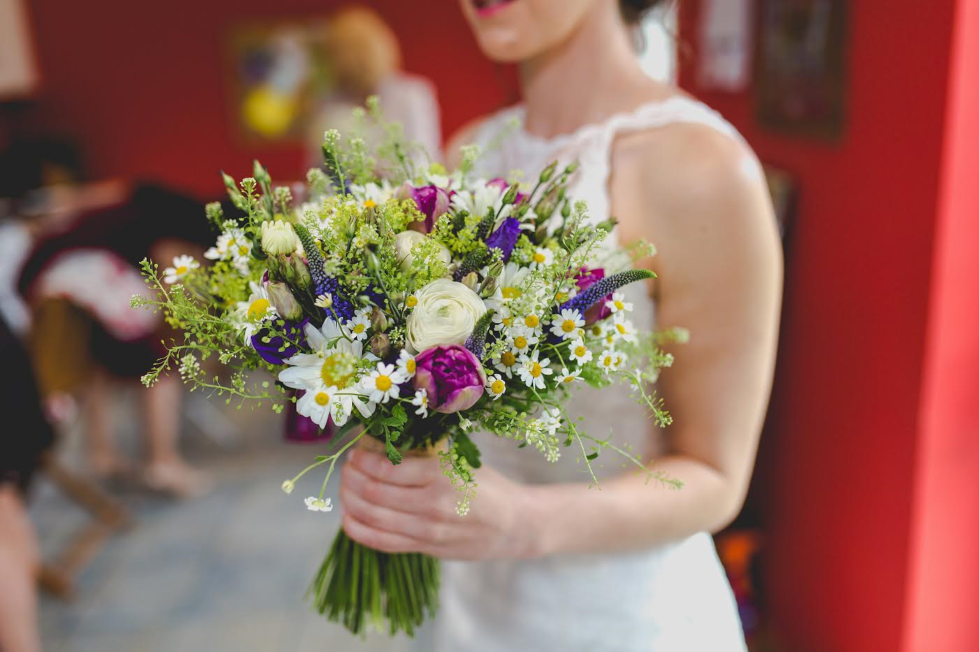 Bridal bouquet with Tulips, Daisies, Thalaspi, Veronica & Lisianthus
