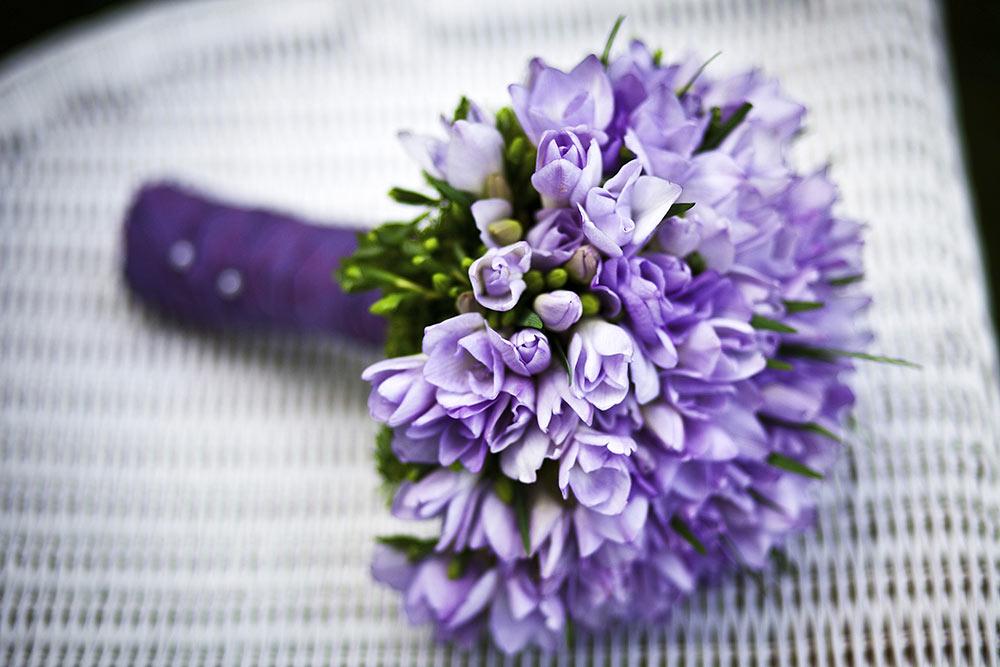 Purple Freesia Bridal Bouquet