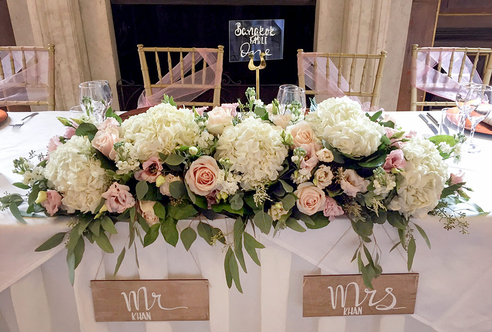 Hydrangea & Rose Top Table Flower Arrangement