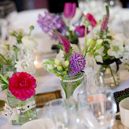 Relaxed country garden wedding flowers featuring veronica