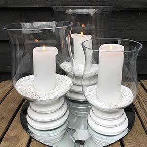 3 Sized Hurricane Lamps