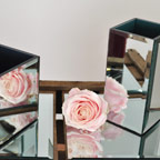 Square mirrored cube vases supplied with square mirror plate